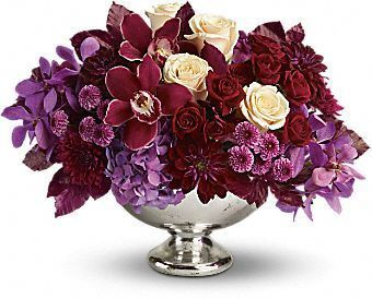 purple, orchids, roses, dahlias, button mums, Mercury Glass Bowl, centrepiece