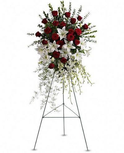 funeral floral arrangement GTA, funeral floral spray, lily and rose funeral spray