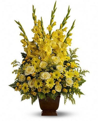roses, gladioli, button mums, yellow funeral arrangement , tall funeral floral arrangement