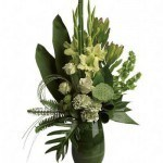 Zen flower arrangement, green, leaf lined vase, lotus pod, roses, mums, gladioli, summer bouquet