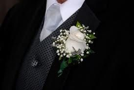 Rose Boutonniere with Babies Breath