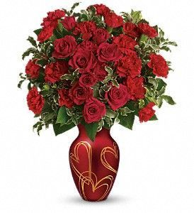 anniversary flowers, red roses and carnations, anniversary gift