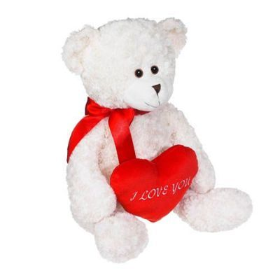gift ideas to say I love you, teddy bear with heart, flower add-ons
