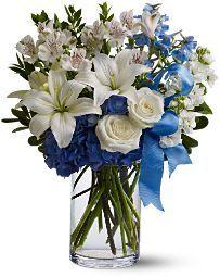 birthday flowers, fresh white and blue flower arrangement