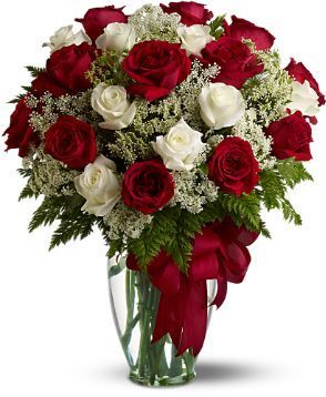 anniversary gifts, love and romance flowers, red and white roses, 20 roses with Queen Anne's Lace
